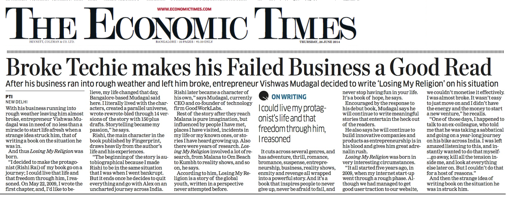Economic Times covers ...